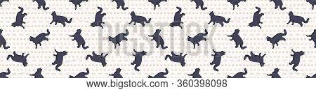 Cute Cartoon British Shorthair Cat Seamless Border Pattern. Pedigree Kitty Breed Domestic Kitty Back