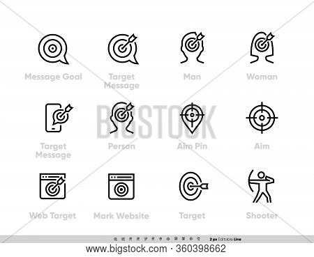 Message Goal And Personal Targeting Line Icons Set. Target Message, Man, Woman, Person With Targets,