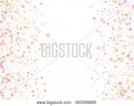 Rose Gold Confetti Circle Decoration For Valentine Card Background. Holiday Vector Decor. Gold, Pink