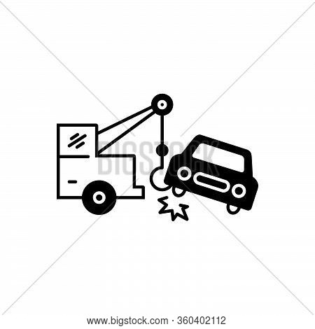 Black Solid Icon For Car-towing Car Towing Tow Accident Breakdown