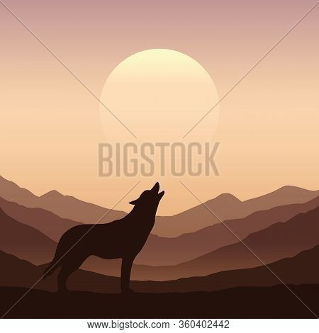 Wolf Howls At Full Moon Brown Mountain Nature Landscape Vector Illustration Eps10