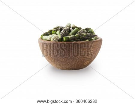 Bowl Of Asparagus Isolated On White Background. Asparagus With Copy Space For Text On White. Fresh G
