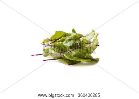 Sweet Beet Leafs(mangold) Isolated On White Background. Top View. Leaves Of Baby Chard  On White. Sw