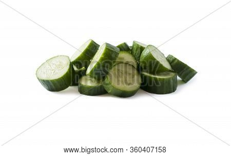 Sliced Cucumber Isolated On White. Cucumbers With Copy Space For Text. Cucumbers Isolated On White B