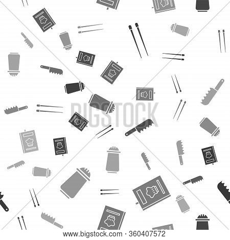Set Food Chopsticks, Cookbook, Bread Knife And Salt And Pepper On Seamless Pattern. Vector