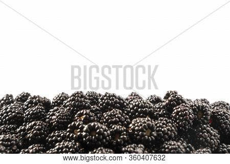 Top View. Ripe Blackberries On White Background. Berries At Border Of Image With Copy Space For Text
