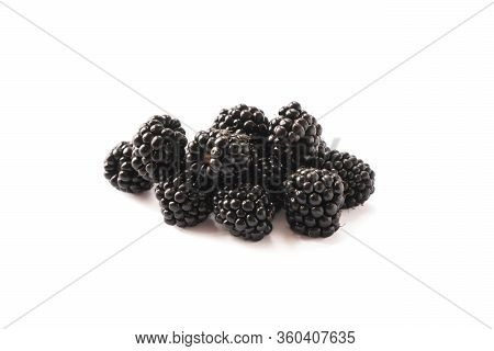 Blackberries Isolated On White Background. Blackberries With Copy Space For Text. Ripe Blackberries