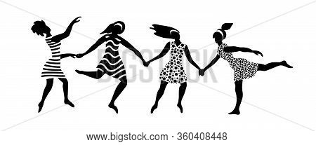 Happy Young Women Holding Their Hands. Vector Illustration.