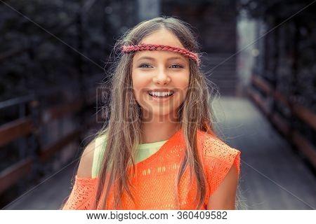 Free Happy Woman Enjoying Nature. Closeup Portrait Head Shot Beautiful Young Hipster Woman Teen Smil