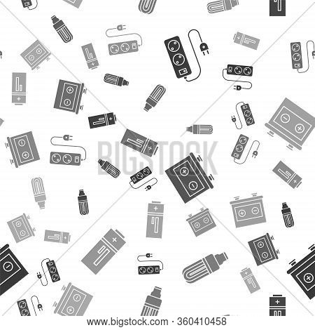 Set Electric Extension Cord, Led Light Bulb, Car Battery And Battery On Seamless Pattern. Vector
