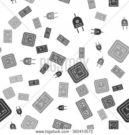 Set Electric Plug, Electrical Outlet, Electrical Outlet And Electrical Cabinet On Seamless Pattern.