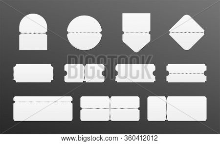 Tear Off Ticket Set. Blank Coupon Collection. Event Entry Or Boarding Pass Mock Up. Lottery And Sale