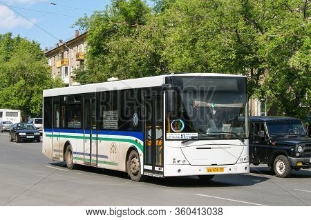 Ufa, Russia - June 2, 2009: White Urban Bus Nefaz 52997 (vdl Transit) In The City Street.