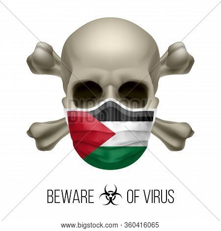 Human Skull With Crossbones And Surgical Mask In The Color Of National Flag Palestine. Mask In Form