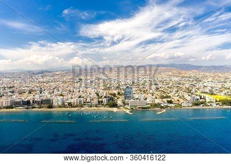 Aerial Drone View Of Limassol Coastline, Cyprus.