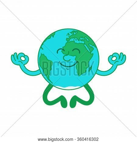Cartoon Character Of Cute Relax Planet, Blue Earth Which Enjoy In The Yoga The Lotus Position. Moder