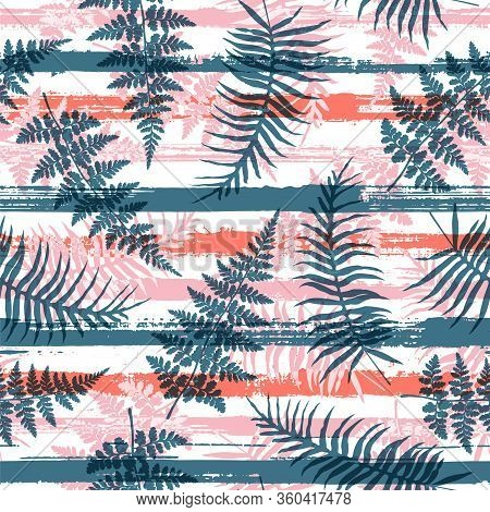 Trendy New Zealand Fern Frond And Bracken Grass Overlaying Stripes Vector Seamless Pattern. Indonesi