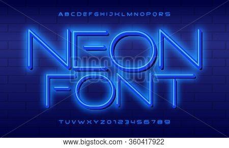 Neon Font City. Neon Blue Font English. City Blue Font. Alphabet Font. Vector Illustration