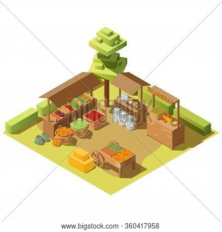 Outdoor Food Marketplace. Vector 3d Isometric Farm Local Grocery Market With Fresh Healthy Vegetable