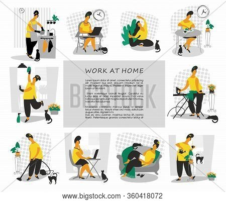 Work At Home. Remote Working. Freelance. Home Office. Woman Self Employed Concept Remote Working. Ve