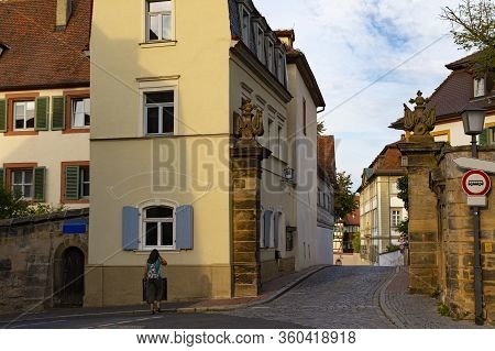 Ancient Street With Colorful Houses  In  Old Town Bamberg , Unesco World Heritage Site. Germany. Fam