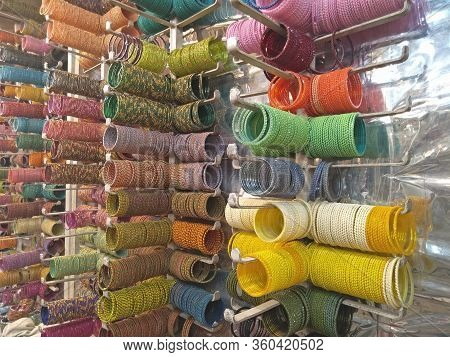Bangles Arranged In Bangle Shop In Hyderabad, Thelungana, India