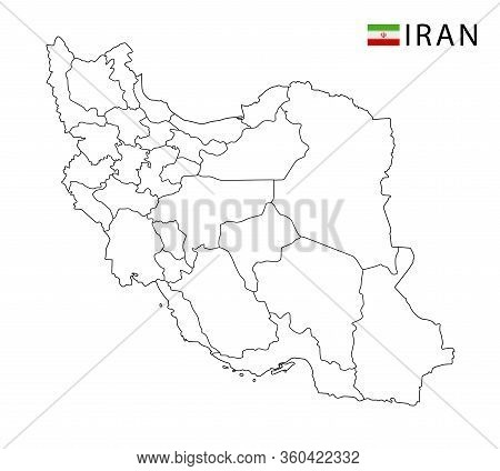 Iran Map, Black And White Detailed Outline Regions Of The Country.