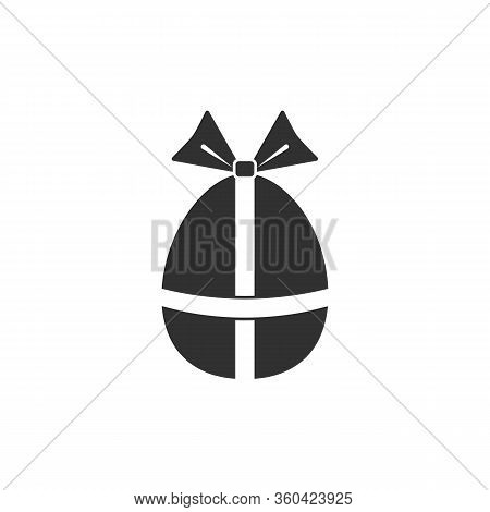 Easter Egg Icon With Gift Bow Vector Illustration Isolated On A White Background .easter Element Des