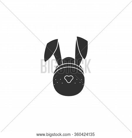 Easter Egg Icon With Bunny Hears Vector Illustration Isolated On A White Background .easter Element