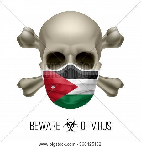 Human Skull With Crossbones And Surgical Mask In The Color Of National Flag Jordan. Mask In Form Of