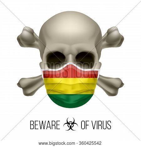 Human Skull With Crossbones And Surgical Mask In The Color Of National Flag Bolivia. Mask In Form Of