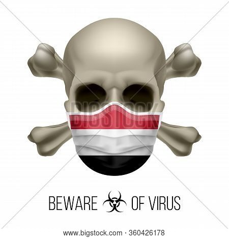 Human Skull With Crossbones And Surgical Mask In The Color Of National Flag Yemen. Mask In Form Of T