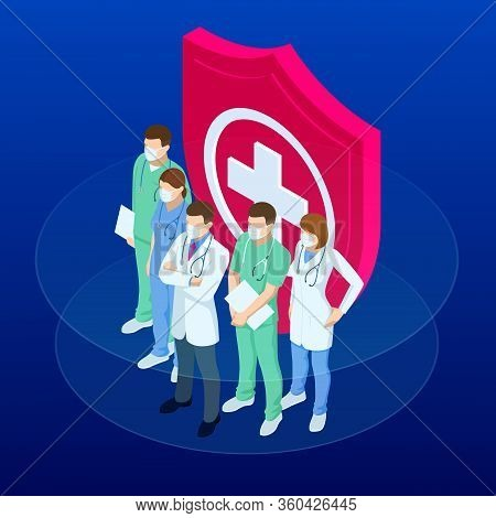 Isometric Doctors And Nurses In A Medical Mask, Protecting Health And Life Concept. Thank You Doctor