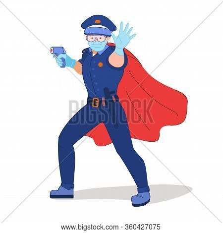 Policeman In A Medical Protective Mask And Rubber Gloves Makes A Stop Gesture With His Hand. Cop Mea