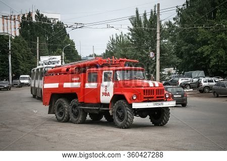 Ufa, Russia - May 28, 2008: Old Fire Truck Zil 131 In The City Street.