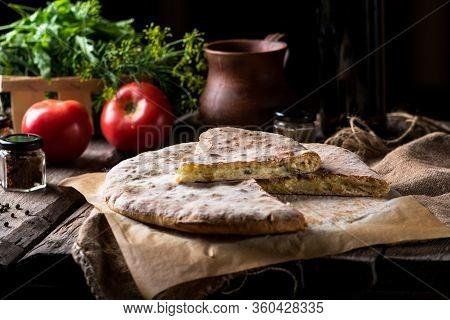 Khachapuri In Adjarian. Open Pie With Mozzarella And Egg. Georgian Cuisine. Still Life Of Food. Sulu