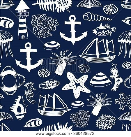 Vector Nautilus Seamless Pattern Blue Background, White Elements Like Anchor, Shell, Ships, Star Fis