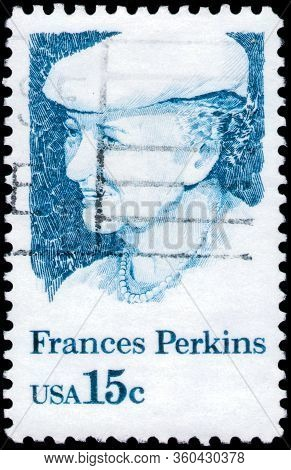 Saint Petersburg, Russia - April 01, 2020:: Postage Stamp Printed In The United States With A Portra