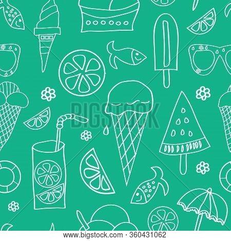 Vector Summer Icons, White Silhouettteson Green Background. Ice Cream, Limonade, Lemon Slice, Fish,