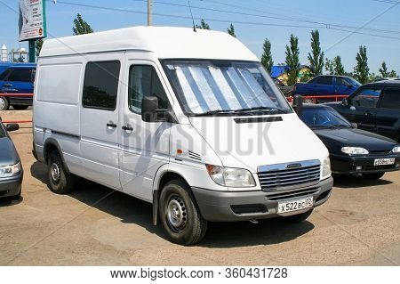 Ufa, Russia - June 21, 2008: White Cargo Van Freightliner Sprinter In The City Street.