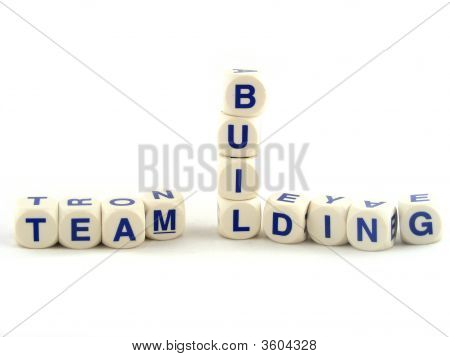 Team Building made of Spelling Blocks Isolated on a White Background poster