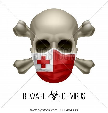 Human Skull With Crossbones And Surgical Mask In The Color Of National Flag Tonga. Mask In Form Of T