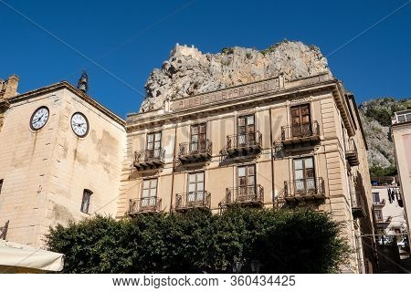 Cefalu, Sicily - February 11, 2020: The Historical Building Of The Albergo Barranco Luxury Hotel In