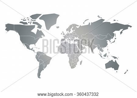 Grey Simplified Silhouette Of World Map. Vector Illustration Isolated On White Background