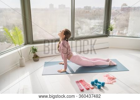 Home yoga workout woman exercising at home stretching legs doing sun salutation cobra pose. Fitness at home girl working out in morning sunlight in living room of apartment.