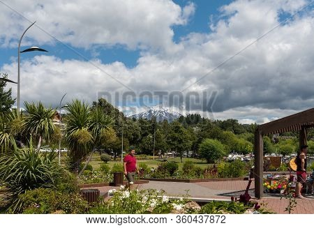 Pucon, Chile-january 31, 2020: Cityscape Of Pucon And Volcano Villarrica, Patagonia, Chile