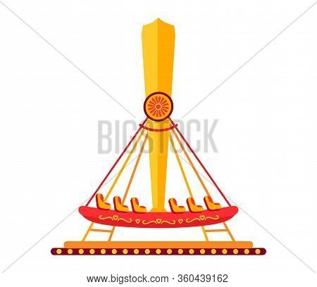 Boat Carousel In Amusement Park Flat. Colorful Childrens Riding Ship, Swing Cartoon Style. Attractio