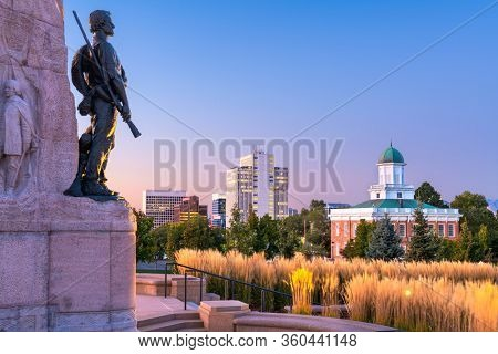 SALT LAKE CITY, UTAH -   Dawn with the Mormon Battalion Monument constructed in 1927 from the grounds of state capitol.