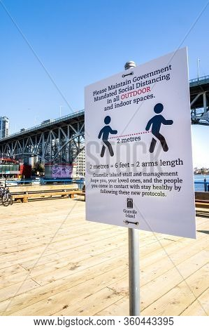 Vancouver, Canada - Apr 7, 2020: Empty Courtyard On Granville Island During Coronavirus Pandemic