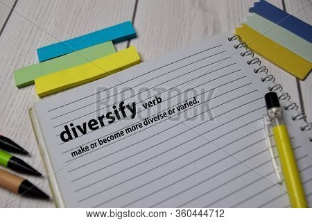 Definition Of Diversify Word With A Meaning On A Book. Dictionary Concept